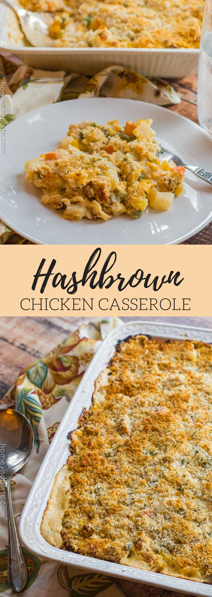 Hash Brown Chicken Casserole | Hash Brown Chicken Casserole has tender bits of roasted chicken breast, hash brown potatoes, shredded cheddar cheese and your favorite mixed vegetables. #hashbrowncasserole #hashbrownchickencasserole