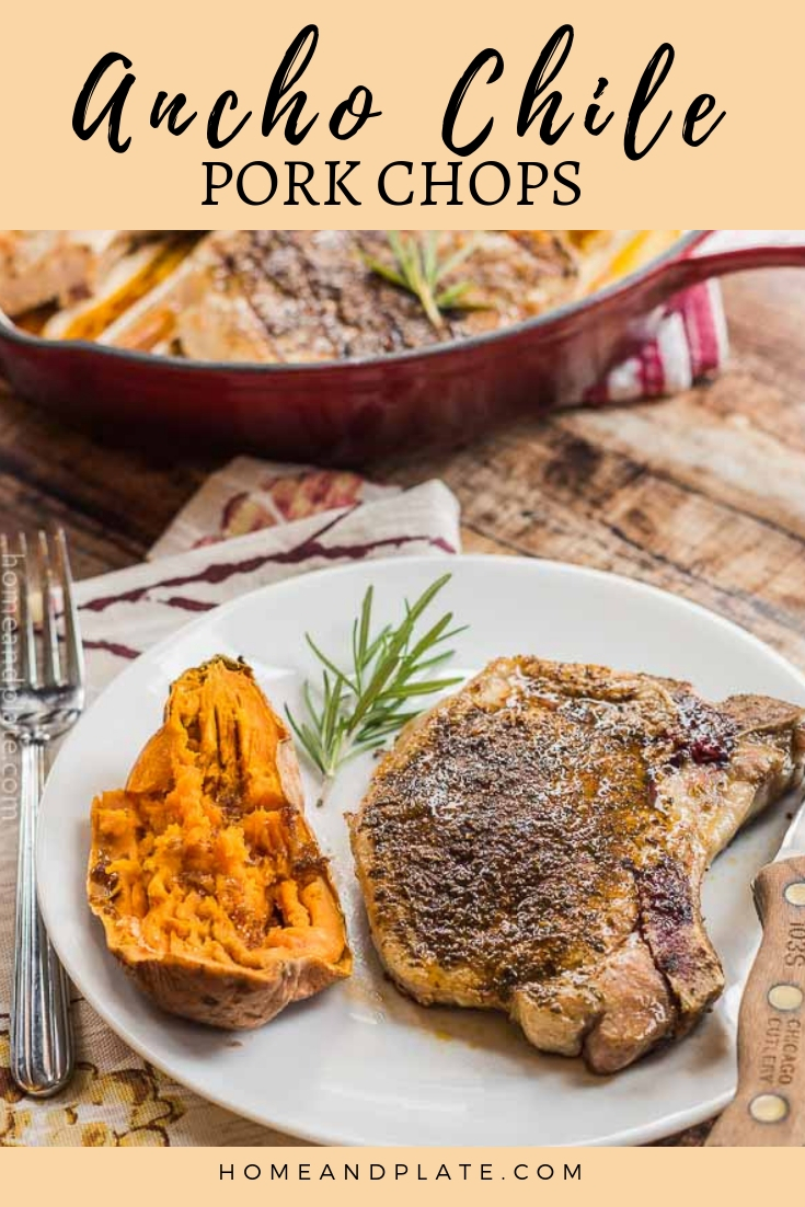 Ancho Chile Pork Chops   Juicy and tender pork loin chops rubbed in ancho chile powder can be seared on the stovetop and finished in the oven in under 30 minute. #ad #ohpork @ohiobaconfarmer