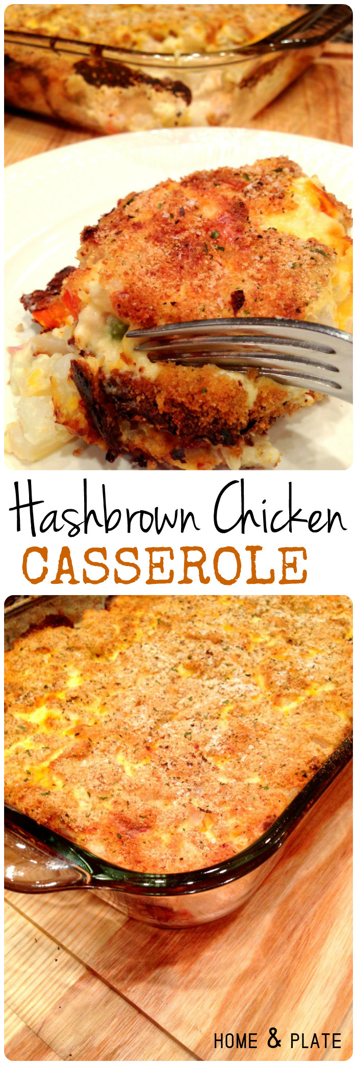 Hash Brown Chicken Casserole |  This casserole has tender bits of roasted chicken breast, hash brown potatoes, shredded cheddar cheese and your favorite mixed vegetables.