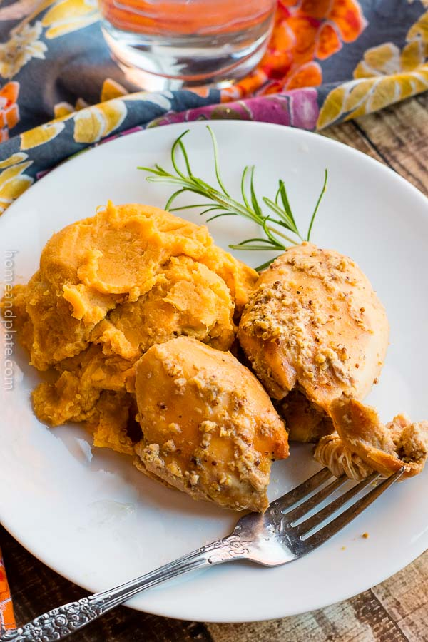 Slow Cooker Apple Cider Chicken | Slow Cooker Apple Cider Chicken simmers in the crockpot all day resulting in tender fall off the bone chicken.