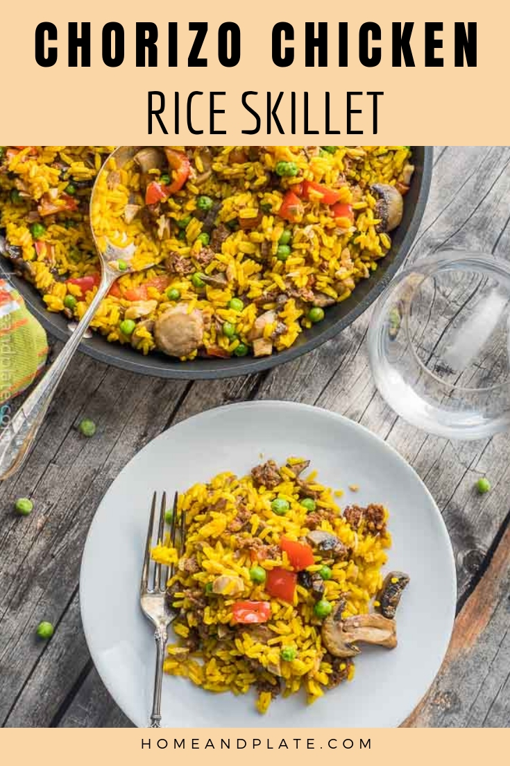 Chorizo & Chicken Rice Skillet   This 30 minute recipe features spicy chorizo sausage, tender chicken and vegetables infused in saffron flavored rice.