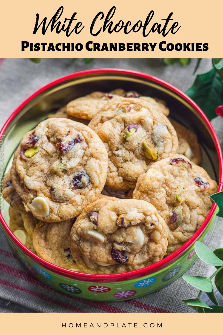 White Chocolate Cranberry Pistachio Cookies | Crispy along the edges and chewy in the center, these white chocolate cranberry pistachio cookies are perfect for the holidays.