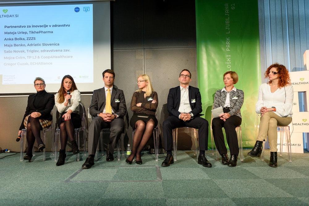 Okrogla miza Partnerstva za inovacije v zdravstvu: Mateja Urlep, Mojca Cvirn, Gregor Cuzak, Maja Benko, Sašo Novak, Anka Bolka, Tjaša Zajc