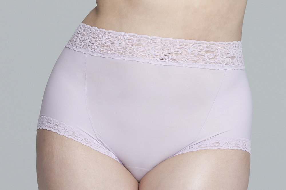 Panty - Wonderfully lush to the touch, the Etched panty is designed for high-waisted coverage and boyshort comfort. This signature construction creates a smooth silhouette which hugs and contours the body.Clean cut microfiber comprises a high-waisted front panel while the back panel slopes slightly lower. These two main panels overlap and are reinforced at the sides with flat stitching for a surface and shape that's even more polished. Trimmed in soft lace at the legs and waist to prevent pinching, the panty is virtually seamless under clothes.