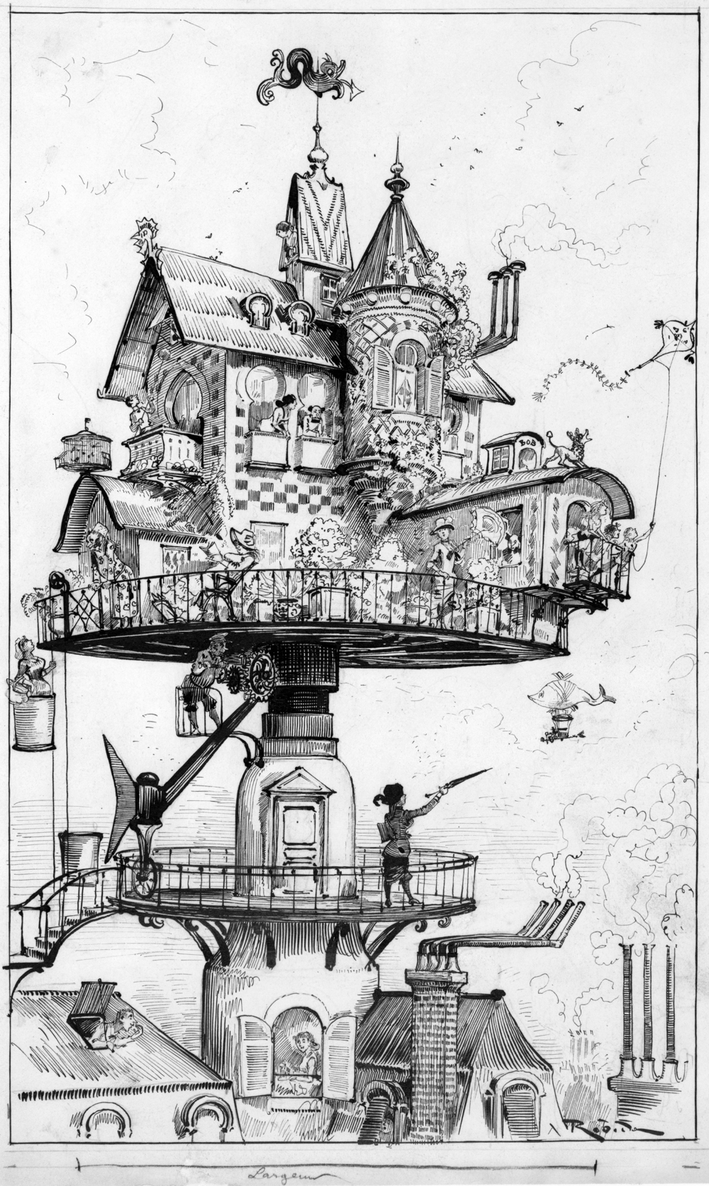 """Maison tournante aérienne"" (aerial rotating house) by Albert Robida (ca. 1883). A drawing for his book Le Vingtième Siècle, a 19th century conception of life in the 20th century."