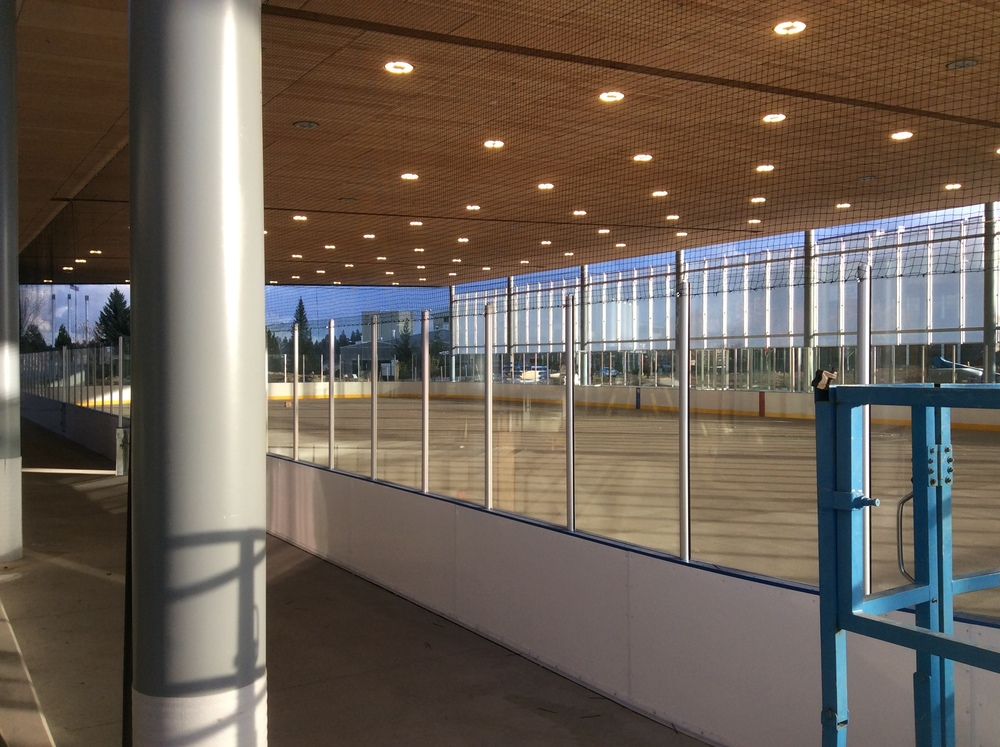 Inside The Pavilion with a view of the new Ice Rink.  The Pavilion is scheduled to open in the Fall of 2015.  Photo by Brian Hudspeth, Bend Parks & Recreation District