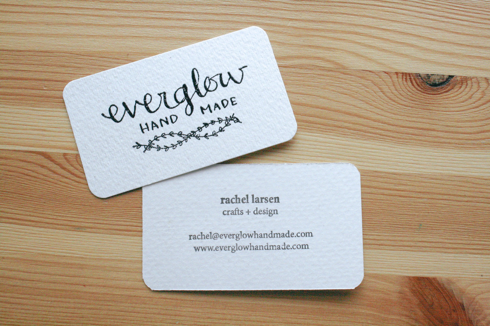 handmade embossed business cards — everglow handmade