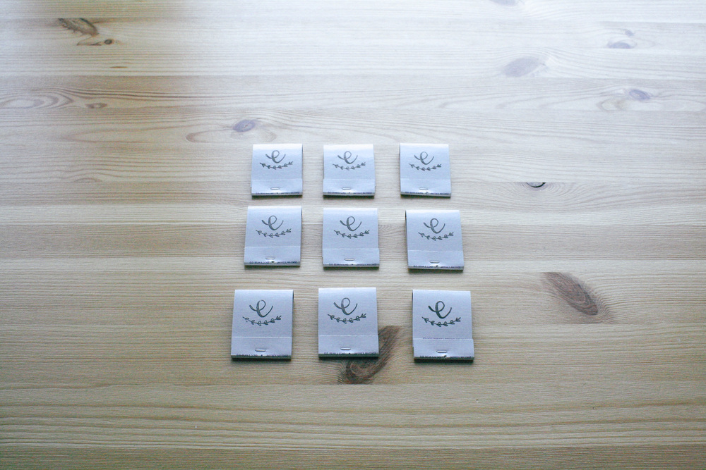 handmade logo stamped matchbooks by everglow handmade