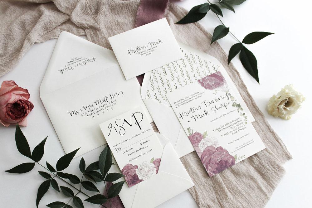 custom calligraphy invitation suite