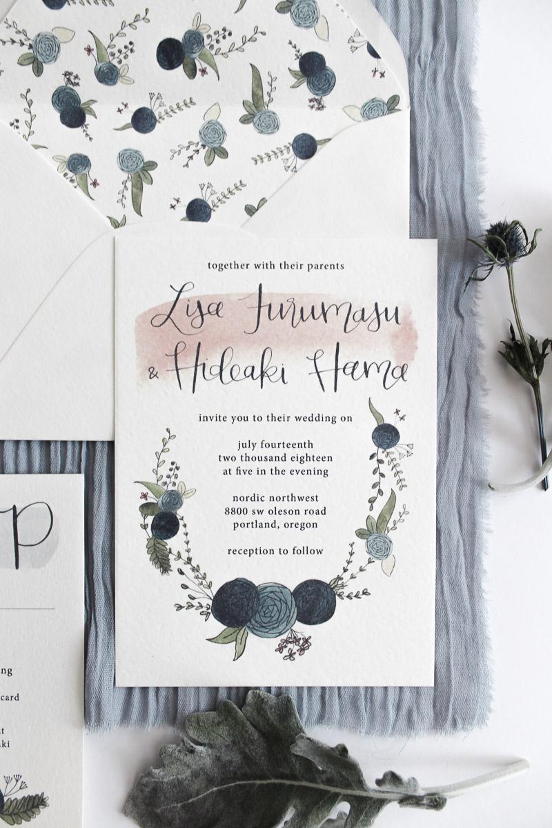custom calligraphy invitation lisa & aki 2