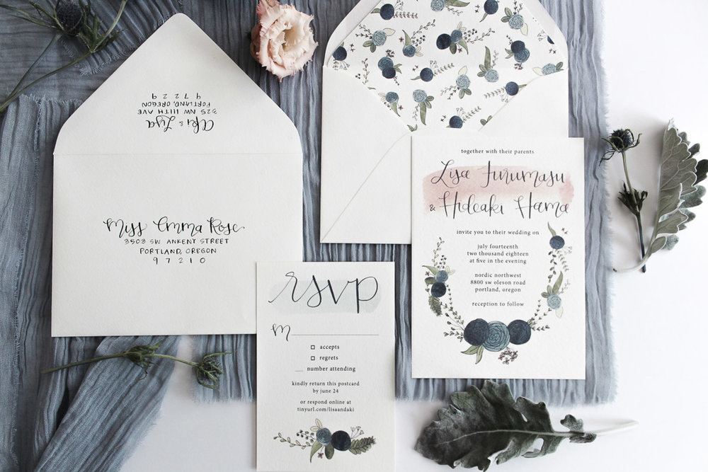 custom calligraphy invitation suite lisa & aki 5