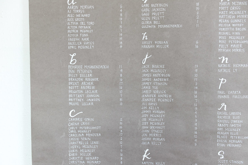 kraft paper seating chart custom calligraphy 3