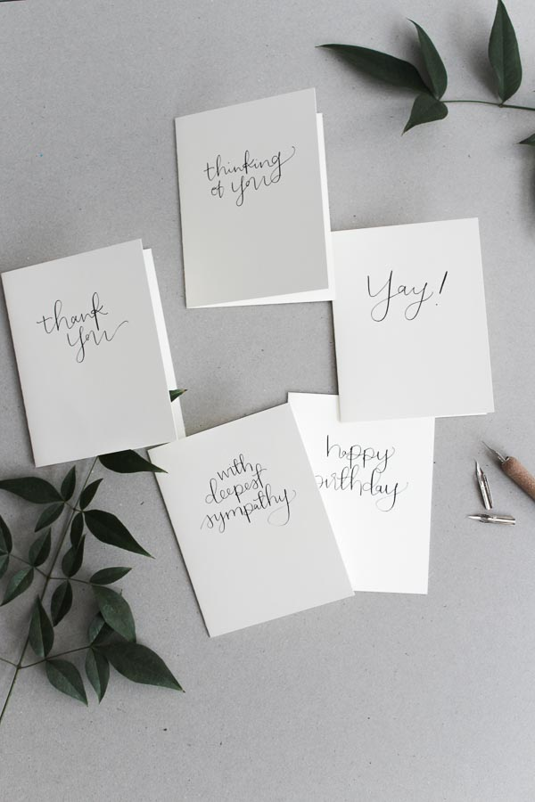 modern calligraphy cards