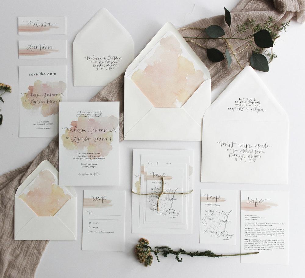 everglow handmade semi-custom wedding invitations