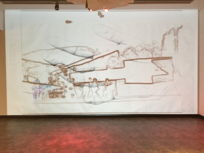 Champlain College Art Gallery - two-channel video projections, silent, looped, on 9'x 18' mixed media drawing