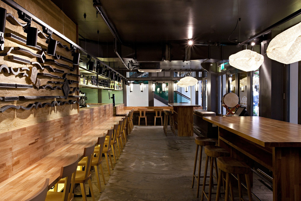 Ori pendants  in the new Shoryu Kingly restaurant, just off Carnaby Street in London, UK.