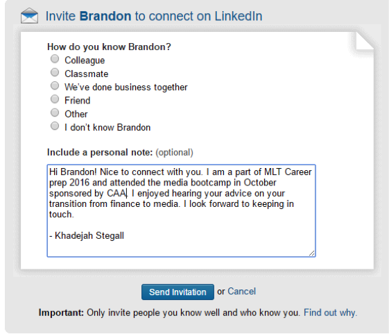 LinkedIn Custom Connect Message