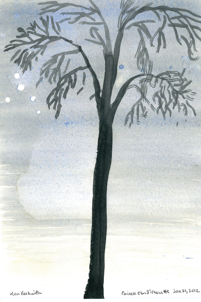 Elm at Twilight, Watercolor and Gouache