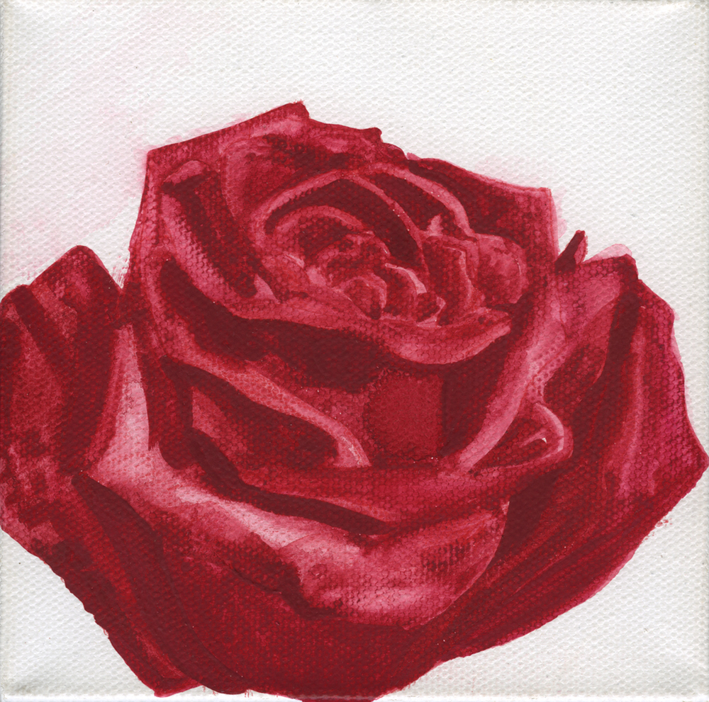 Red Watercolor Rose on Canvas