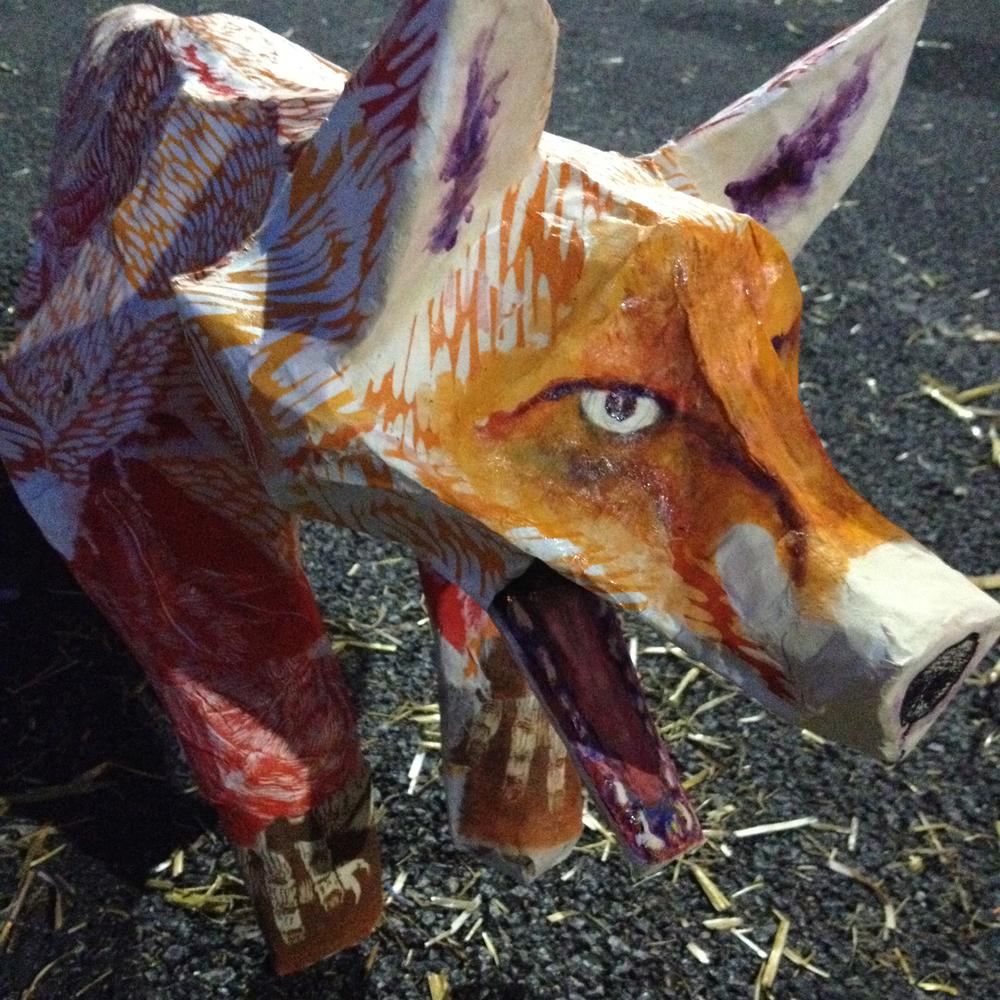 Inked papier-mâché fox for Scarecrow Festival, Saint Charles