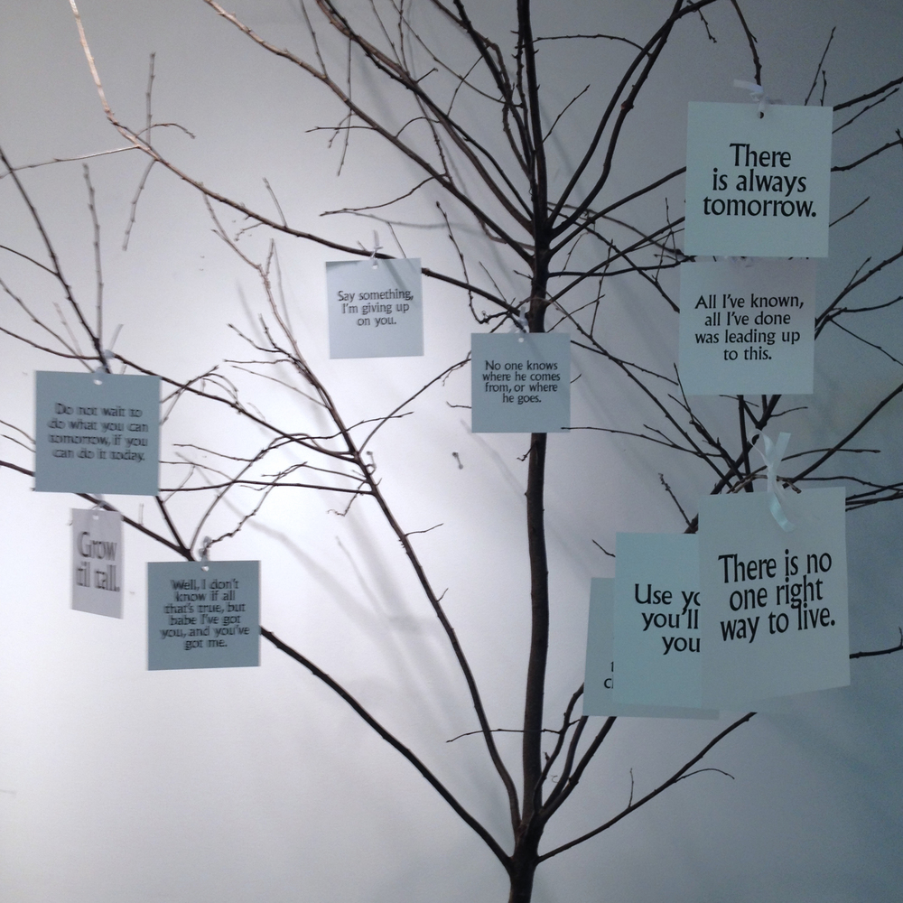 Tree with Printed Quotations and Lyrics