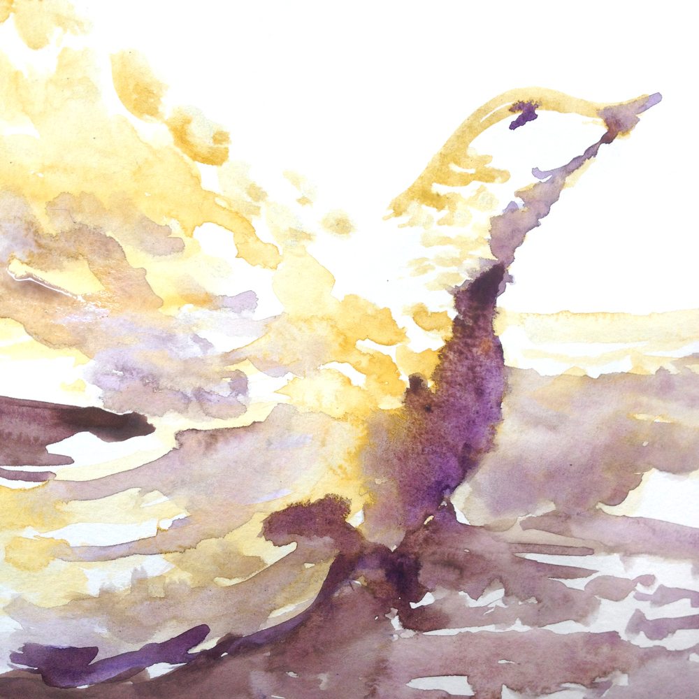 Bird and the Sea, Watercolor