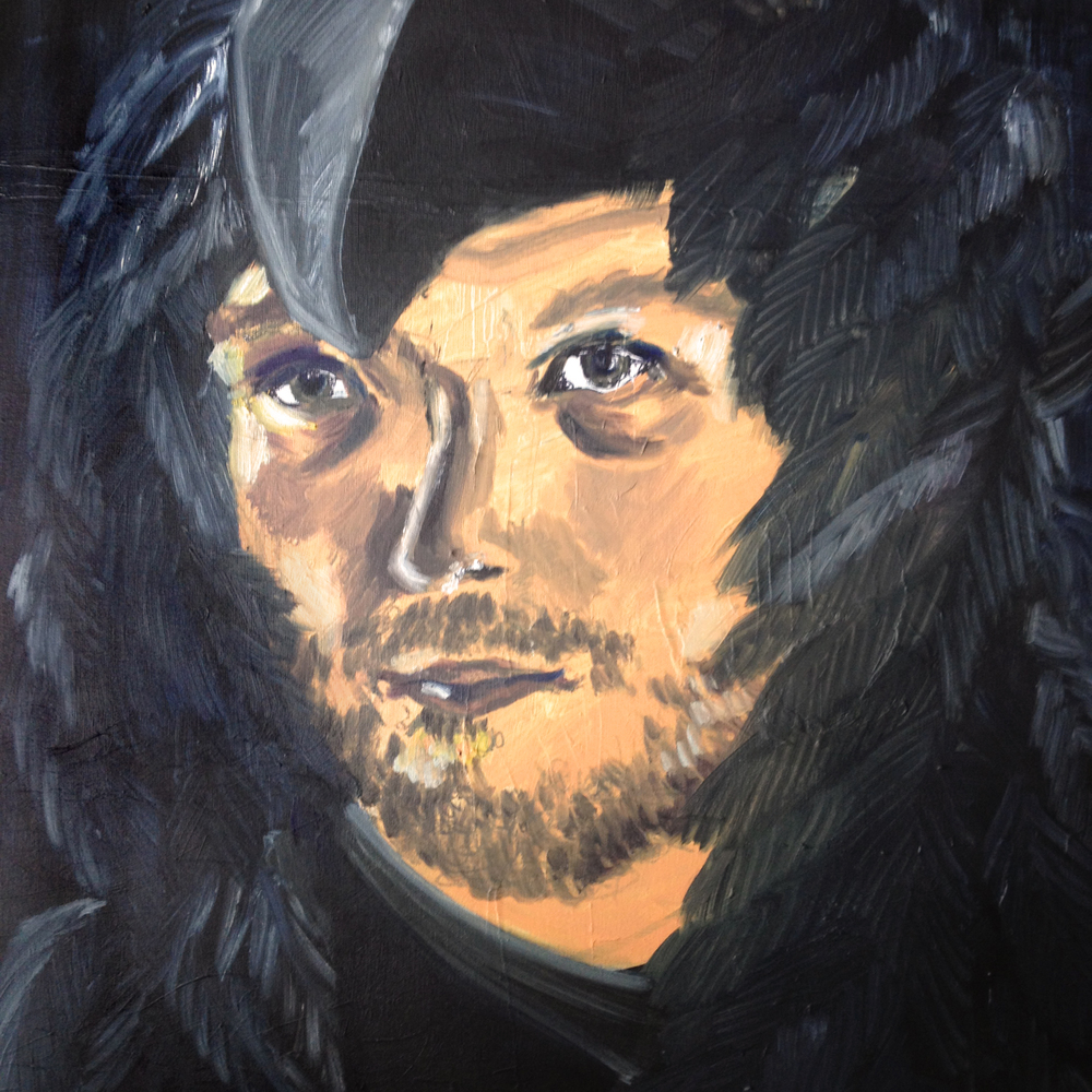 Happy Cloaked in Darkness, Oil on canvas