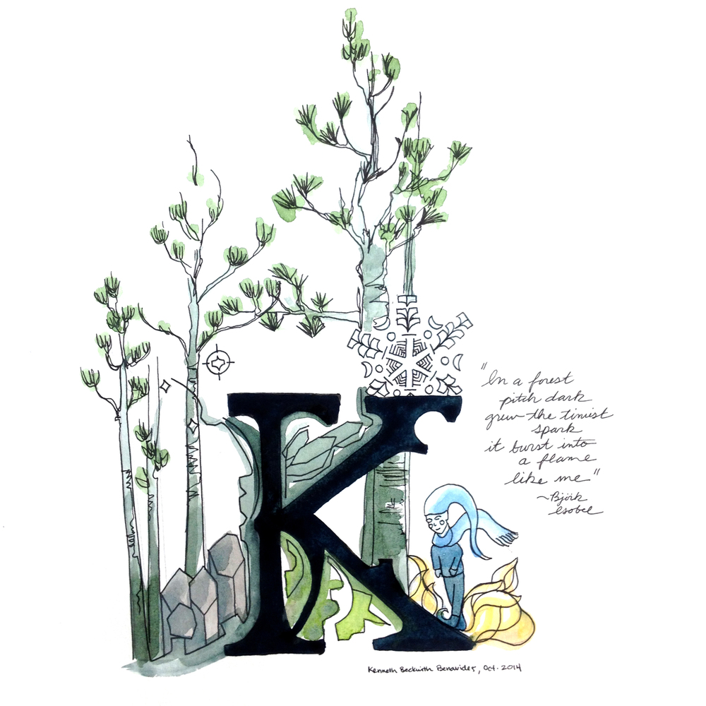 Illuminated 'K' Letterform, Ink and Watercolor