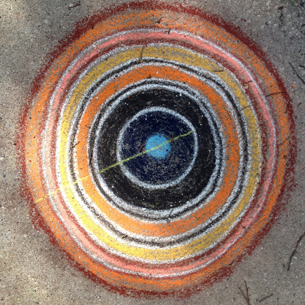 Concentric Circles, Chalk drawing