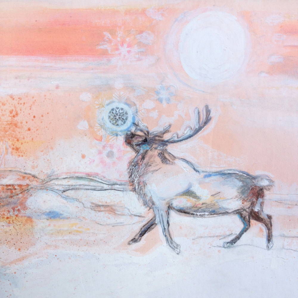 Reindeer and Snowflake, Watercolor and oil pastel
