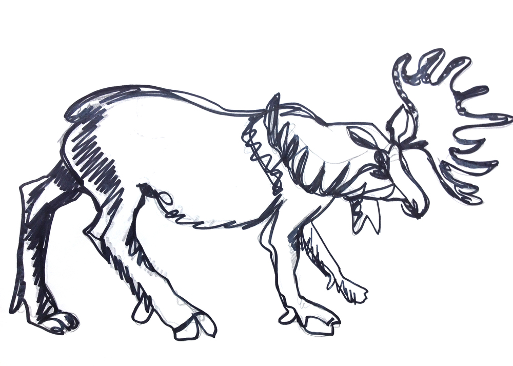 Simple moose from a painted white model. Start in pencil, and finish with a dark ink (marker, paint, or ink).