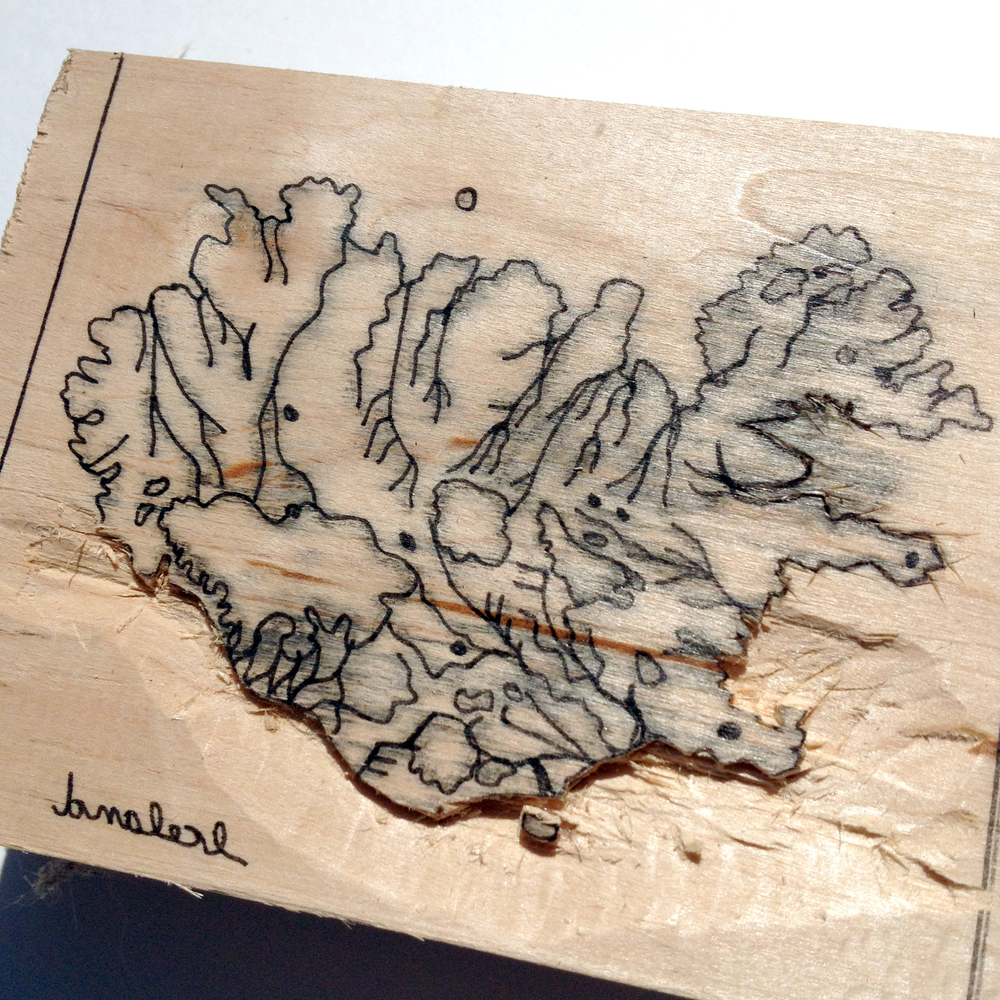 I'm using this drawing of Iceland for my woodcut. I've all ready begun carving away to form the woodcut relief.