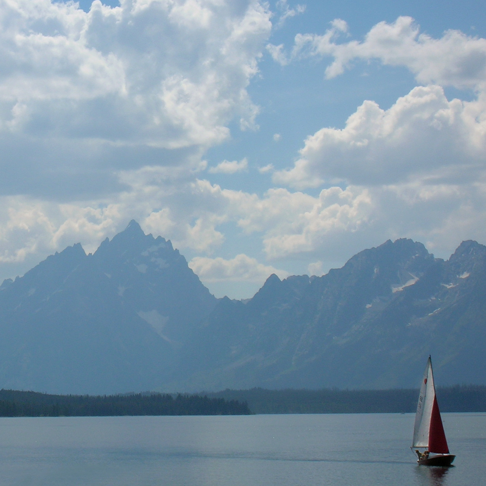 Tetons and Boat, Grand Tetons National Park, Wyoming
