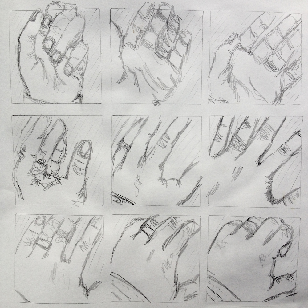 Like musical notation, a storyboard follows a linear progression. Read this from right to left, up to down.