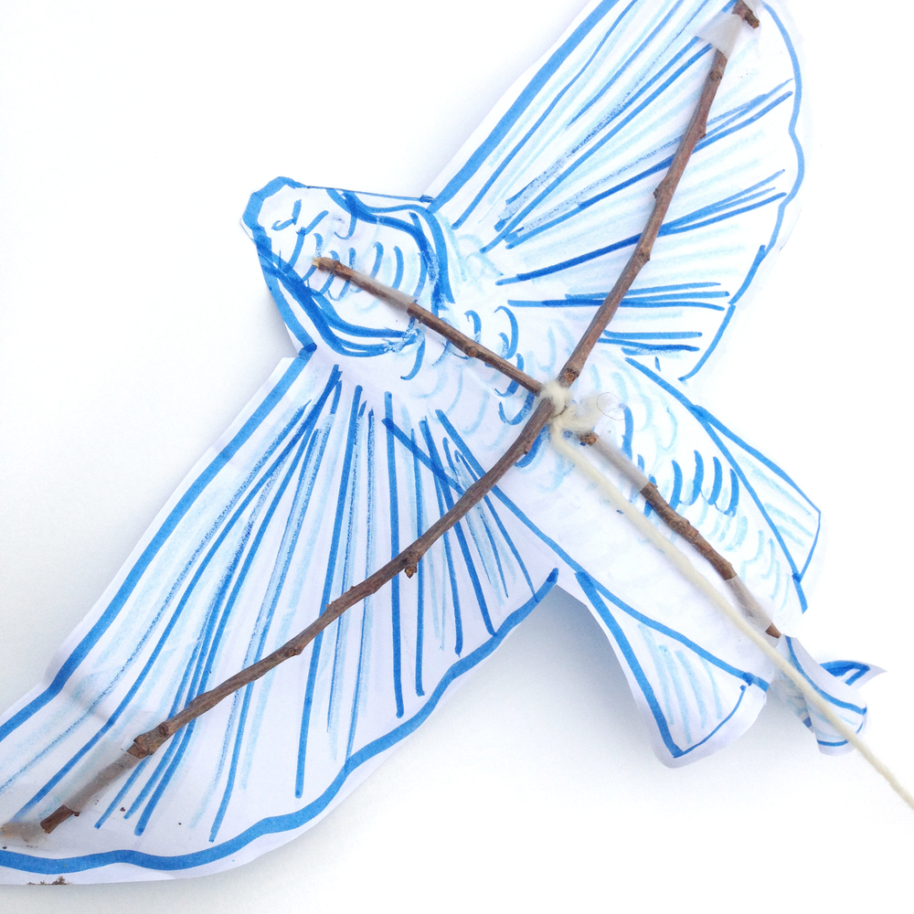Use string (or yarn) and tape to assemble a frame for the wings and kite. Use as little material as possible to assemble your kite. You do not want it to be too heavy to get off the ground!
