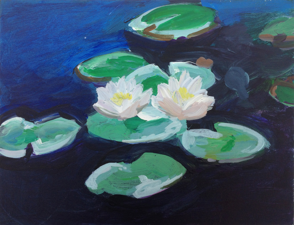 Monet style waterlilies, Tempera on canvas