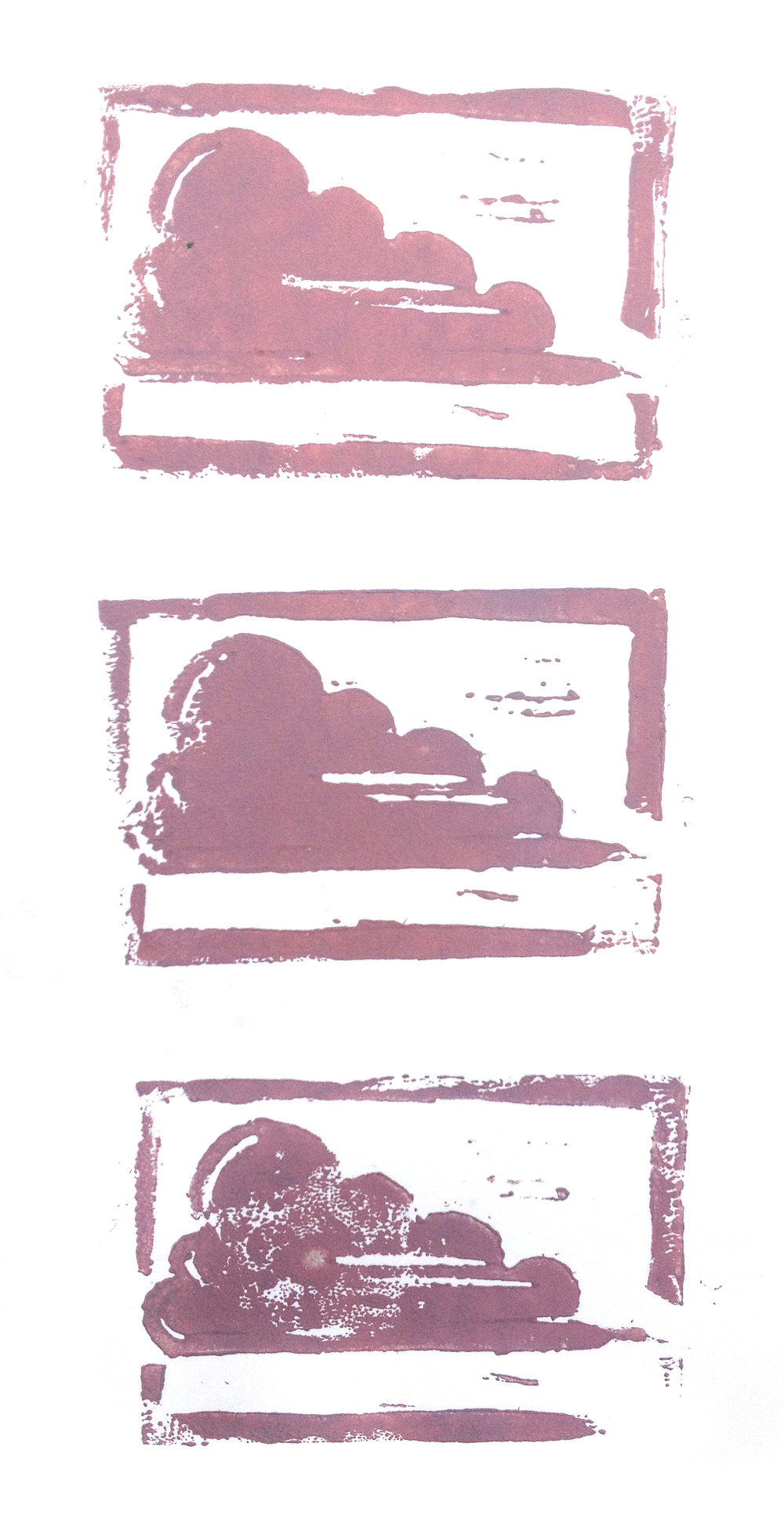 Cloud, Carved relief print