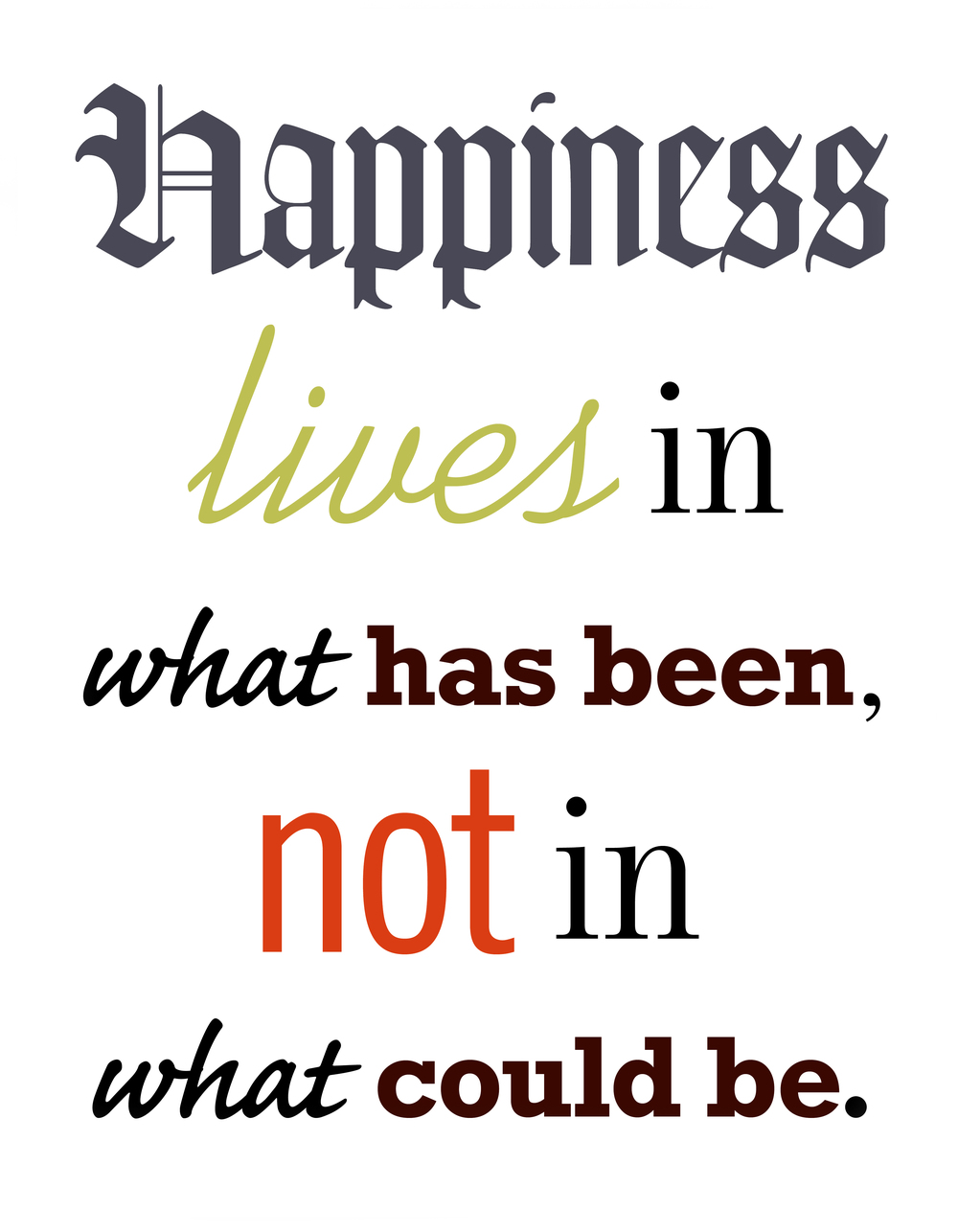Happiness, Typographic layout