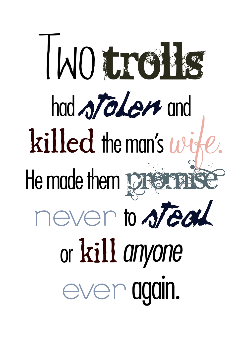 Trolls, Typographic layout