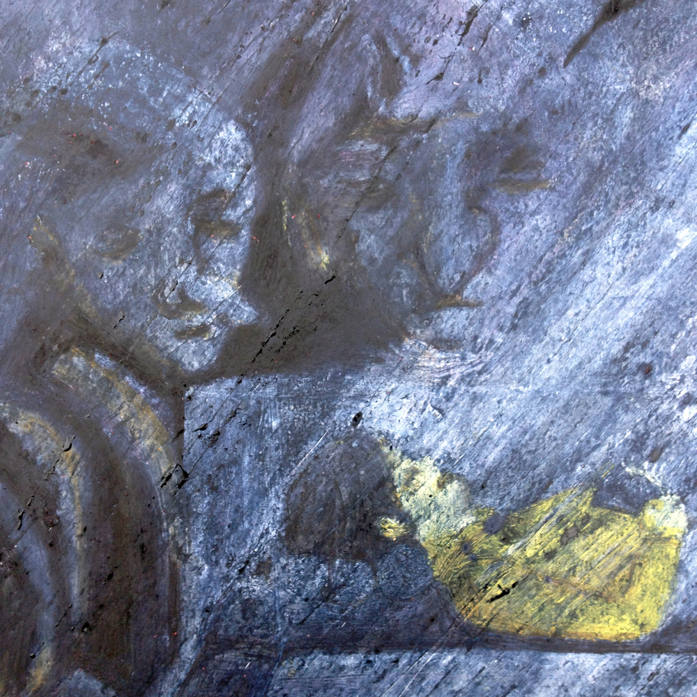 Detail of man's wife and trolls beneath a layer of etching ink.