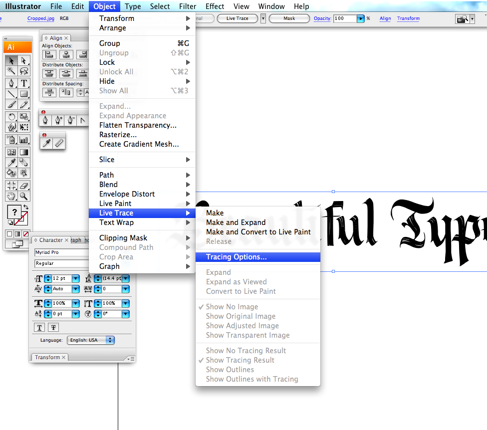 Find the Live Trace tool in your version of Illustrator.