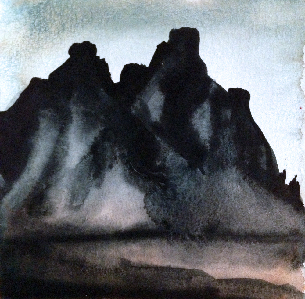 Iceland Mountains, Gouache