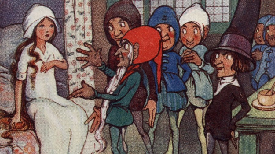 A postcard from the 1800s shows the seven dwarfs finding Snow White asleep in their bedroom.