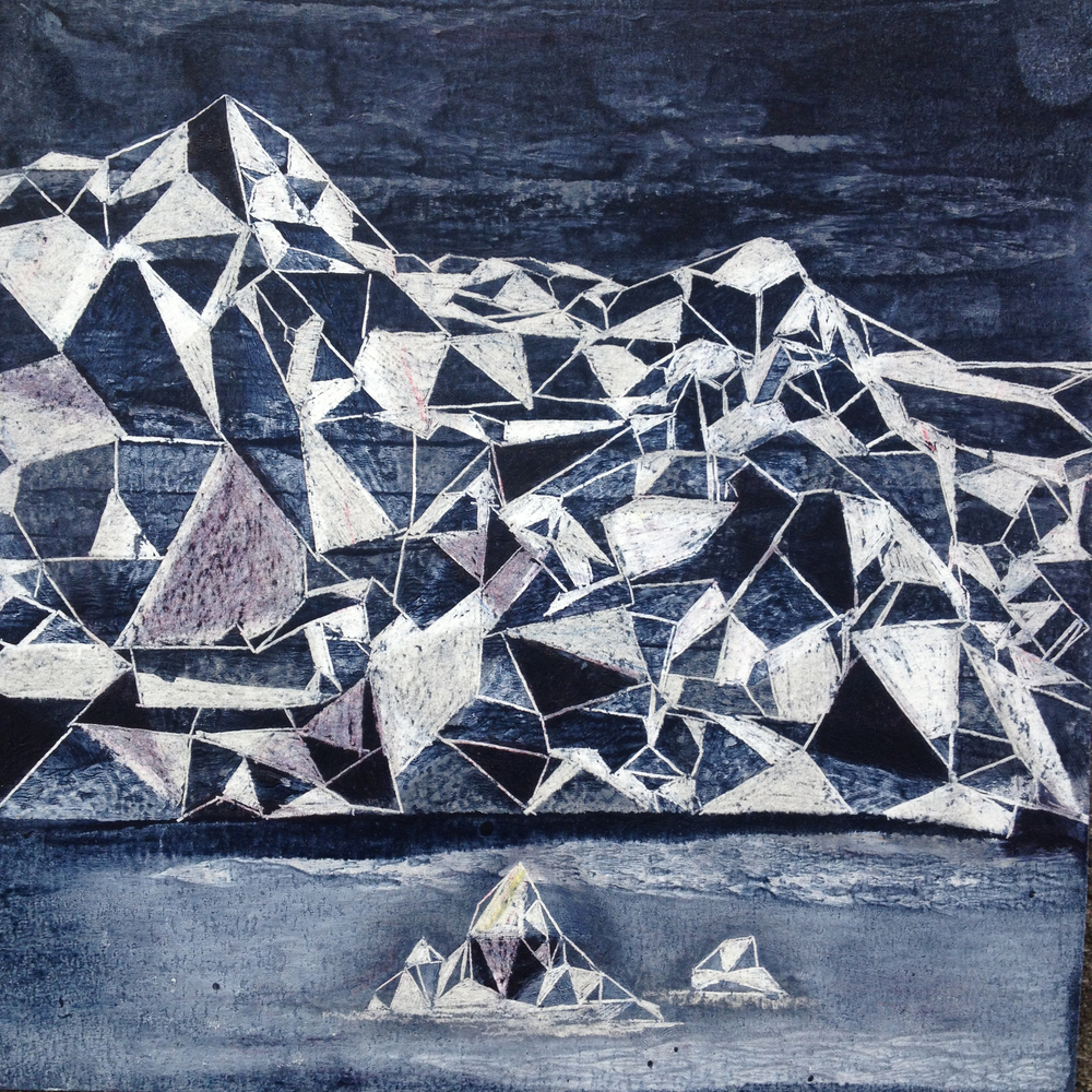 Ísjaki , Oil pastel and ink