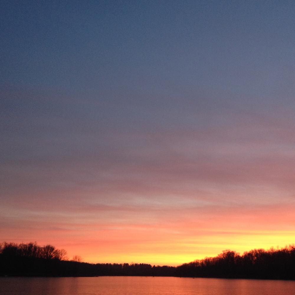 Shabbona Lake at Sunset in Winter, Shabbona, IL