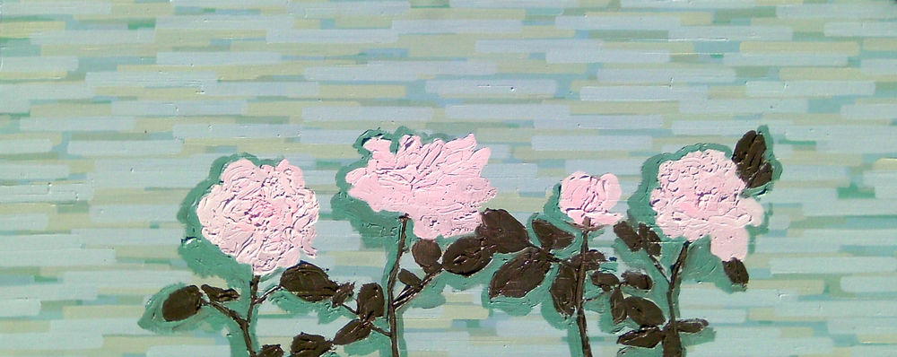 Pink Roses on Sea Green Wall Stop-Motion, Oil on canvas
