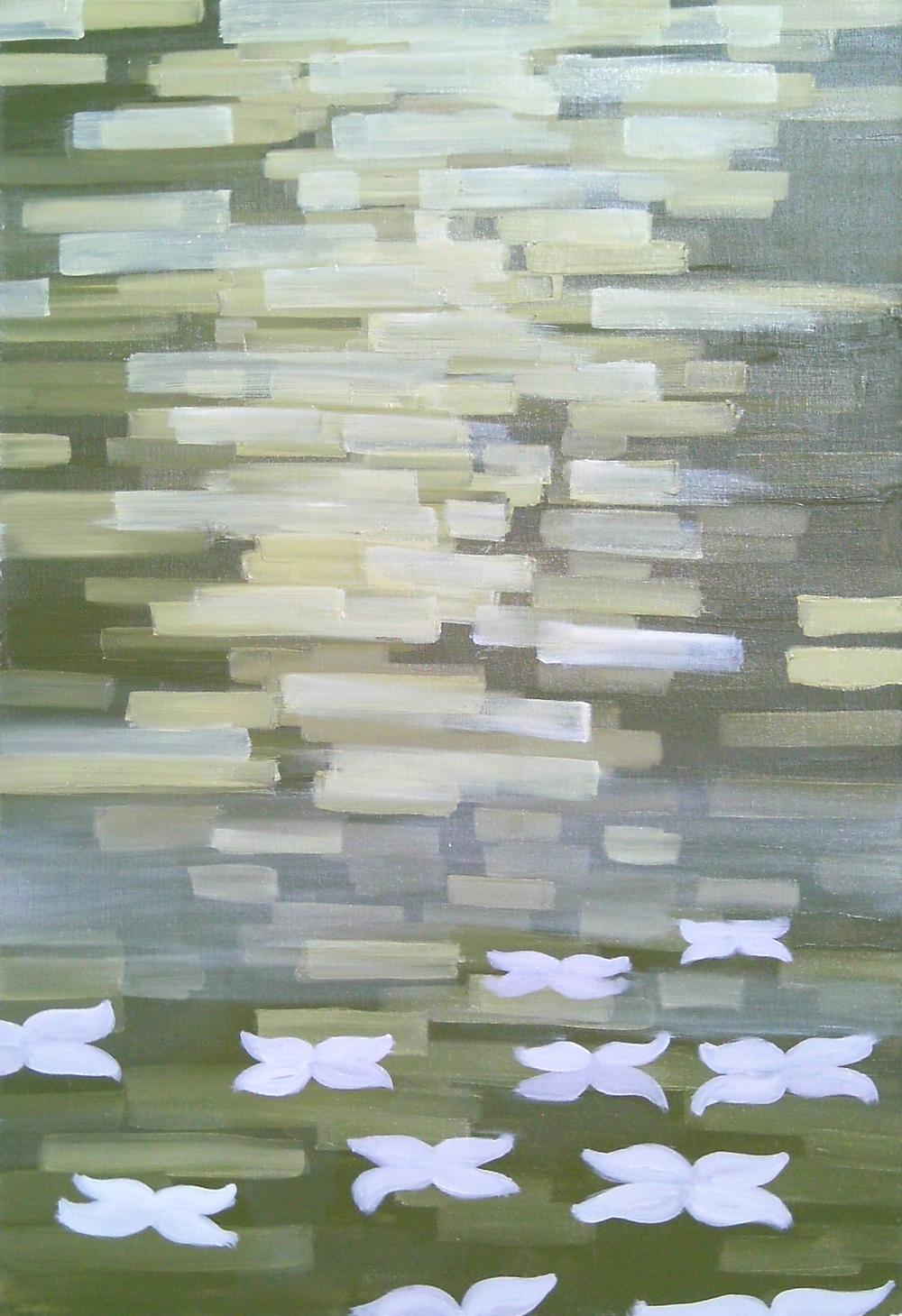 Mauve Flowers and Leaf-Light, Oil on canvas