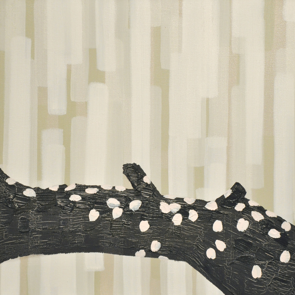 Yoshino Petals on a Black, Wet Bough, Oil on Canvas