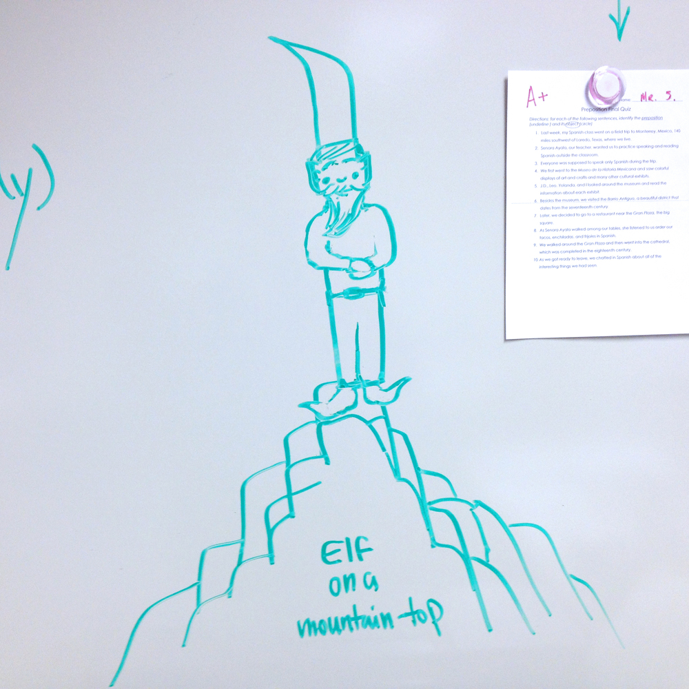 Elf on a mountaintop , Dry-erase marker