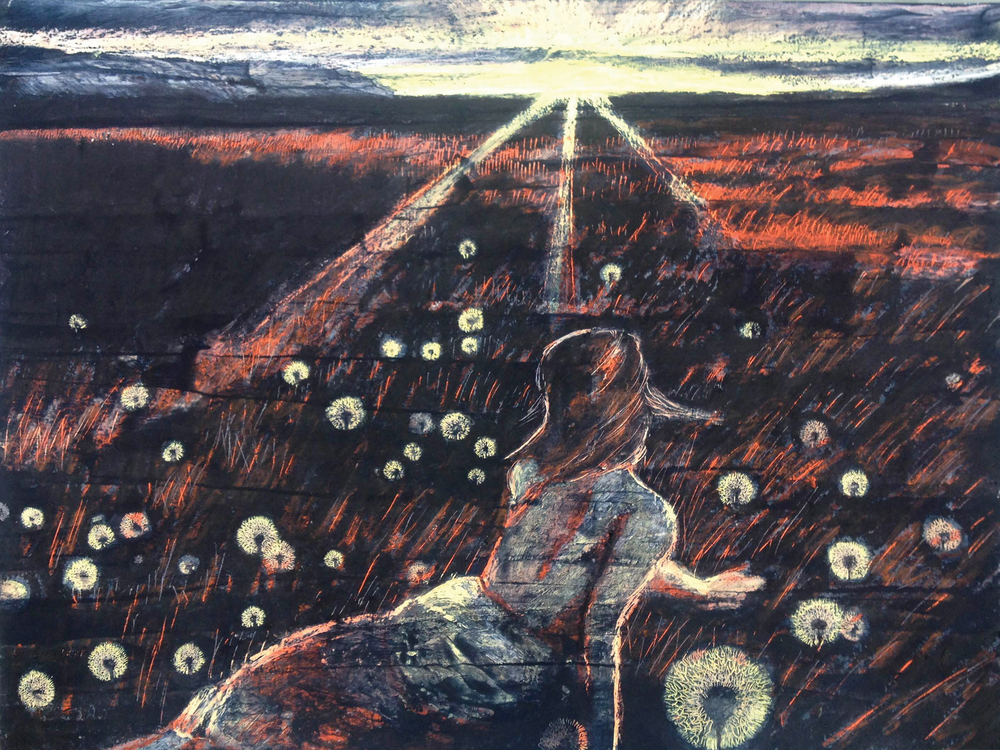 Midnight Sun, Oil pastel and ink